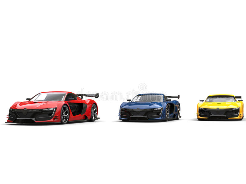Cool super sports cars side by side - red, blue and yellow. Isolated on white background stock photography