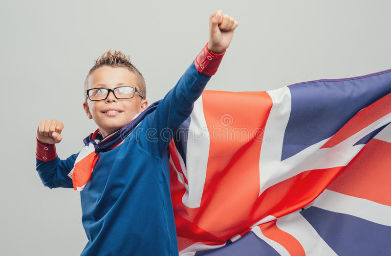 Cool superhero with fists raised stock images