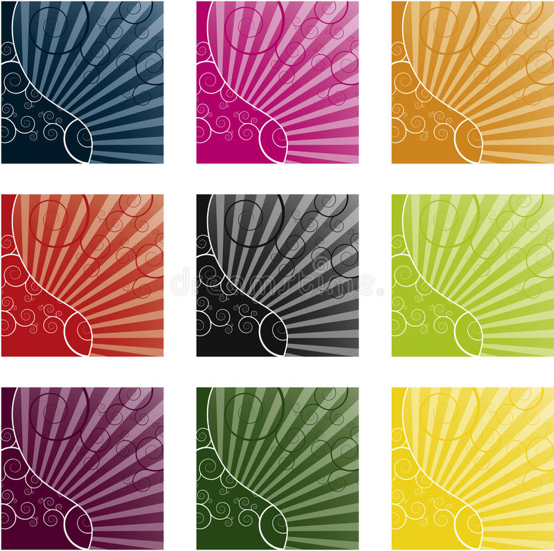 Cool swirly background in 9 different color royalty free illustration