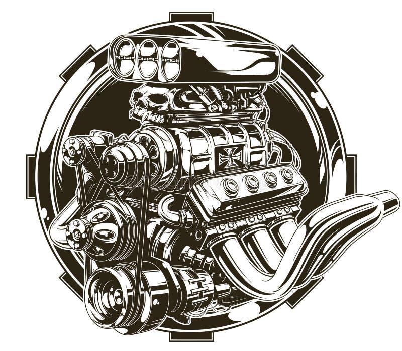 Cool szczegółowego gorącego drogowego silnika z czaszka tatuażem royalty ilustracja