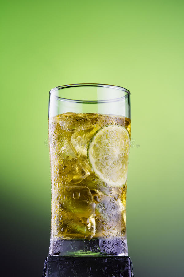 Cool tea with ice lemon lame stock photo