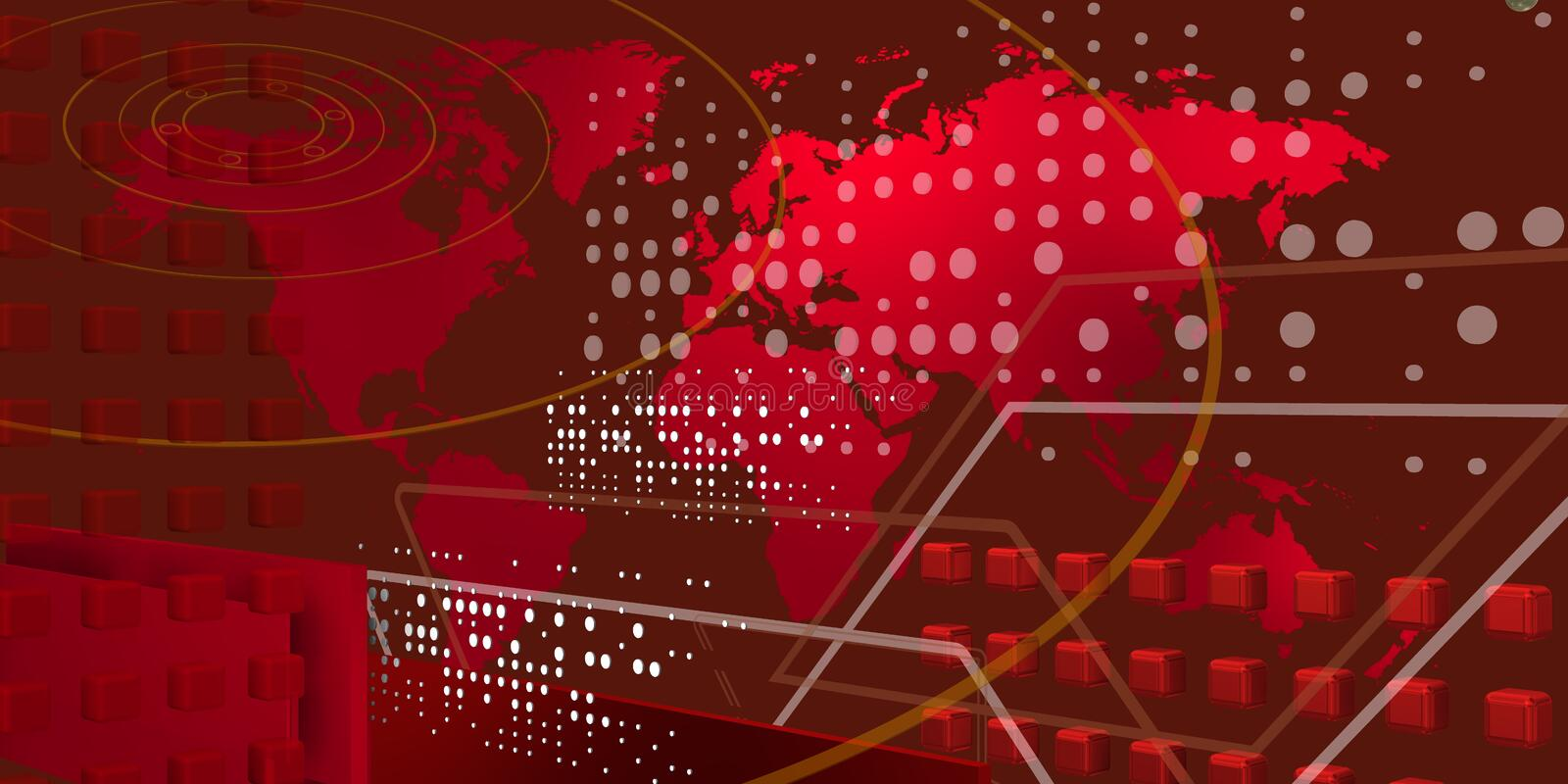 Cool teccnological world over red stock image
