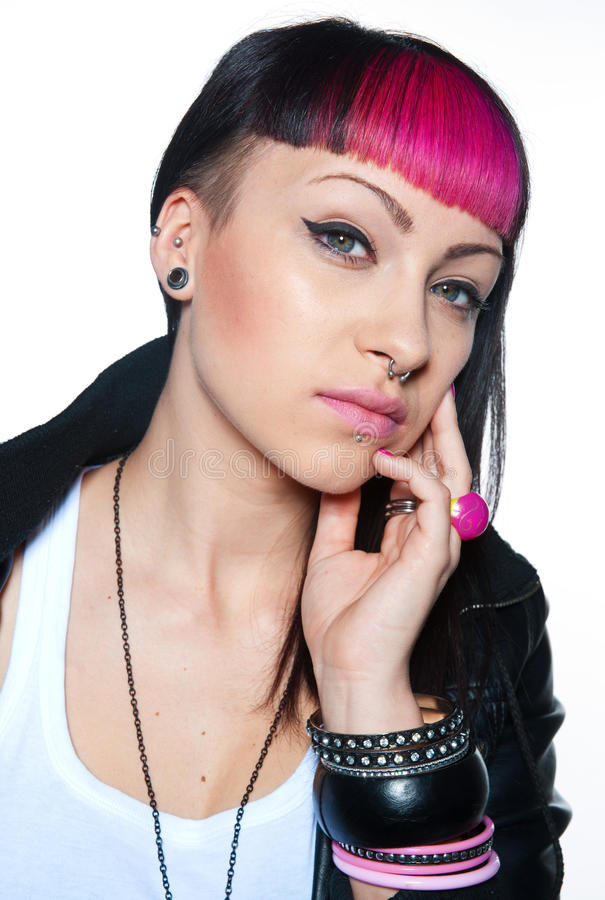 Cool teen girl with piercing royalty free stock images