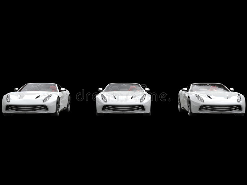 Cool three white sports cars - on black background. Cool three white sports cars - isolated on white background royalty free stock images
