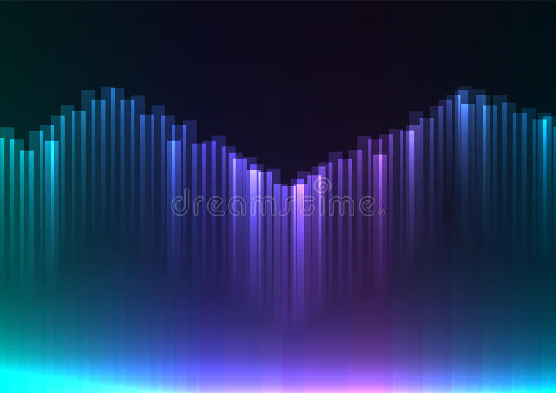 Cool tone of digital aurora abstract background royalty free illustration