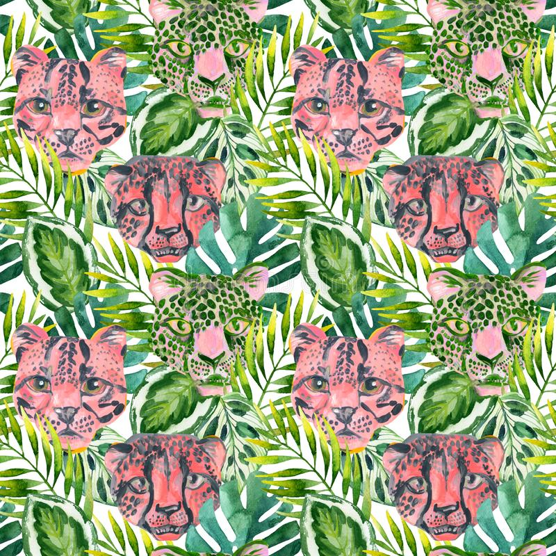 Free Cool Trendy African Animals Seamless Pattern. Watercolor Animal Print Pattern With Cute Leopard, Cheetah, Jaguar Muzzles In Jungle Royalty Free Stock Image - 161046476