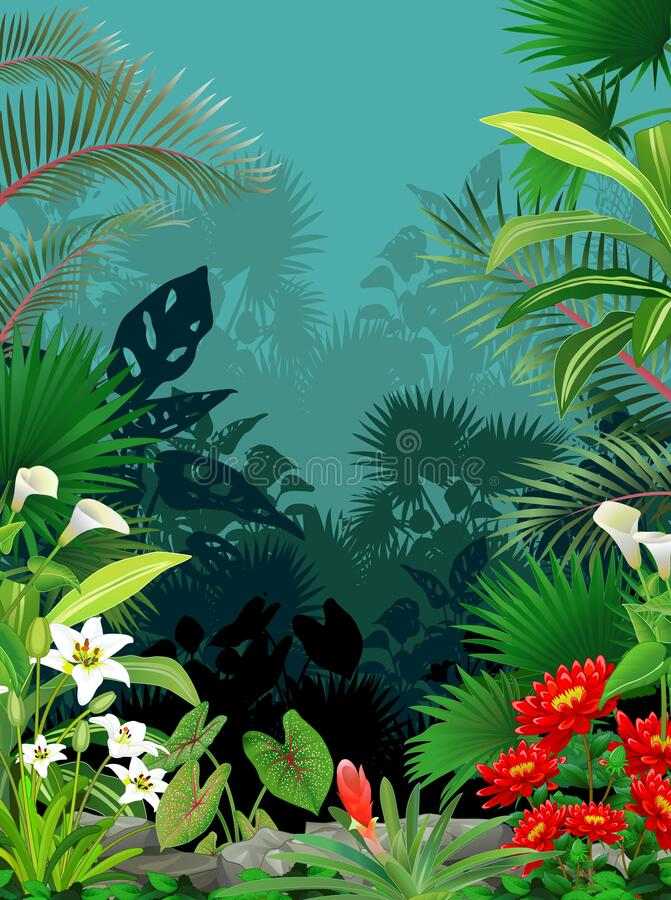 Cool Tropical Rain Forest With Ivy Plant and Flower Cartoon. For your design vector illustration