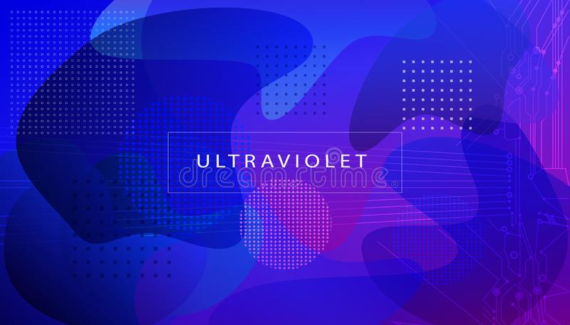 Cool ultraviolet gradients banner landing page Future geometric patterns Abstract fluid color bubbles Background Eps10 vector sign royalty free illustration