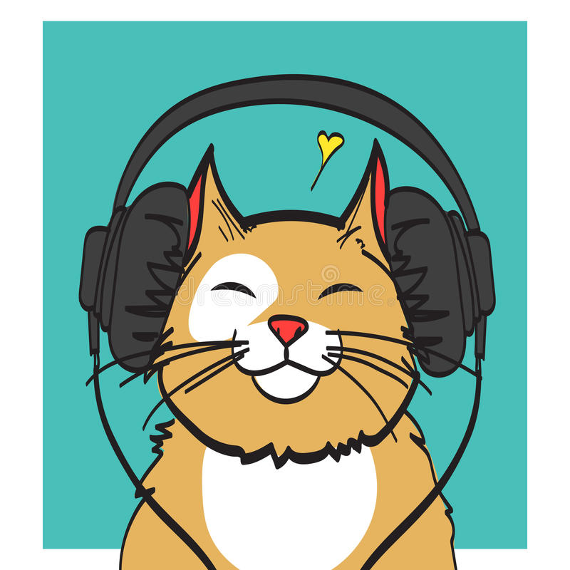 cool vector art of cat with headphone music picture eps 10 on rh dreamstime com cool vector art ideas awesome vector art