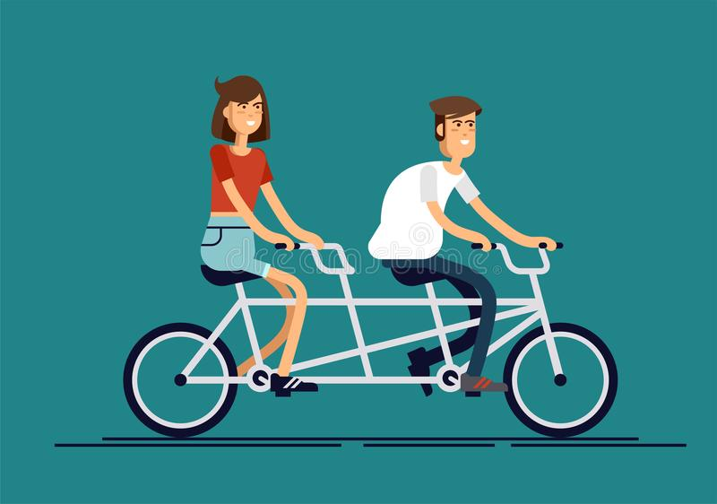 Cool vector flat design happy young man and woman characters couple riding tandem bicycle isolated. Young hipsters vector illustration