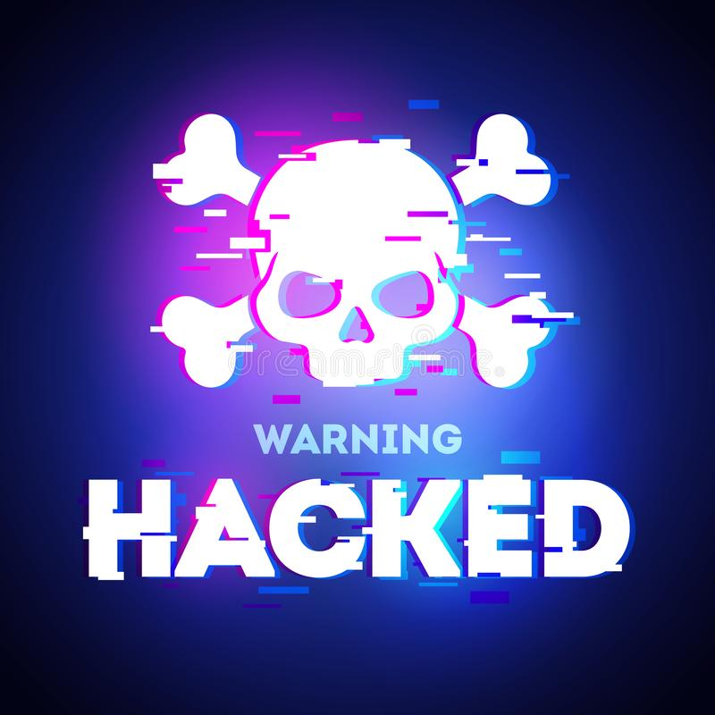 Vector Hacked glitch text. Skull and bones illustration in glitch style on dark background. Warning about hacker attack. Pirate si royalty free illustration