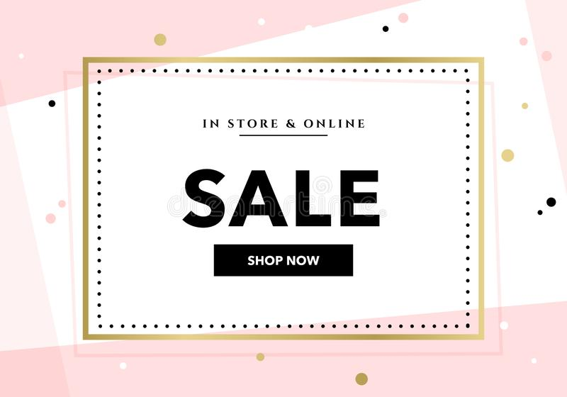 Vector modern promotion web banner template for social media mobile apps. Elegant sale and discount promo background with abstract stock illustration
