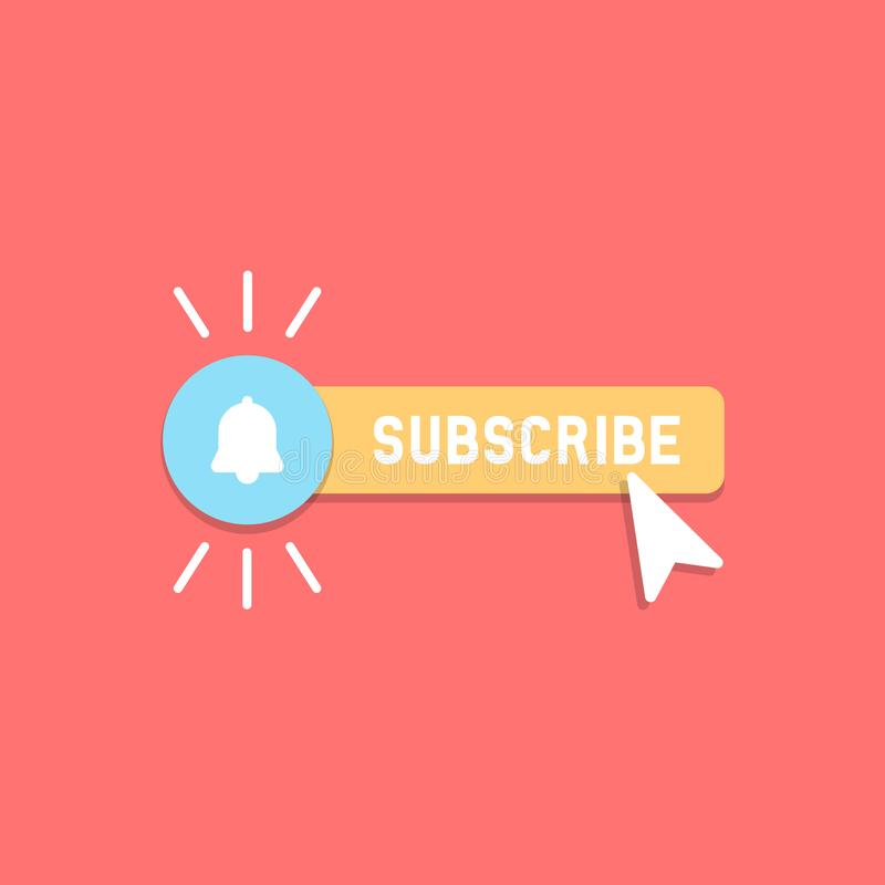 Cool vector subscribe button with cursor and notification in flat design. Ideal for video streaming website banners, blogs,. Content updates and news feed vector illustration