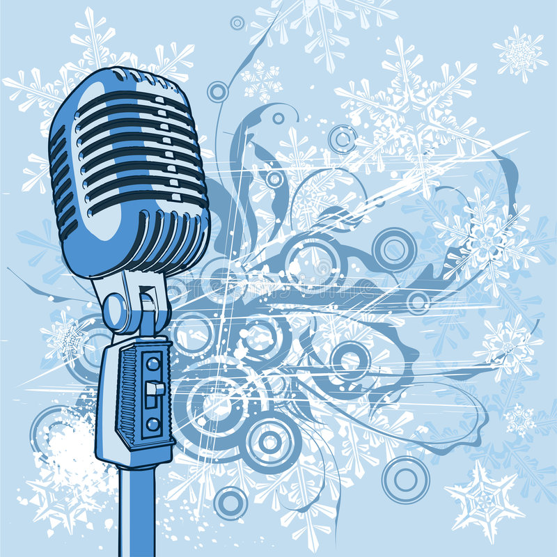 Cool vintage microphone. On blue floral background & snowflakes royalty free illustration