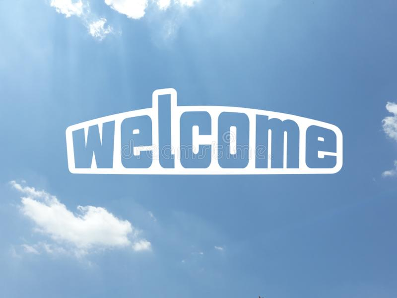 Cool welcome message in white color on blue sky background. Cool `Welcome` message in white color over an almost cloudless blue sky background vector illustration