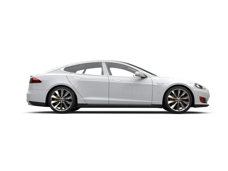 Cool white modern electric sports car - side view royalty free illustration