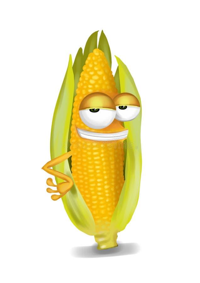 Cool yellow corn cob cartoon character, sly eyes vector illustration