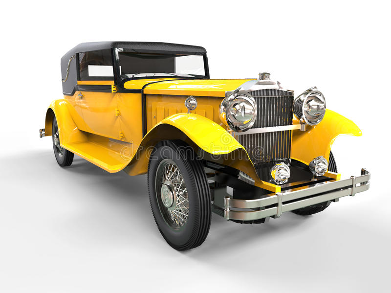 Cool yellow vintage car royalty free stock photography