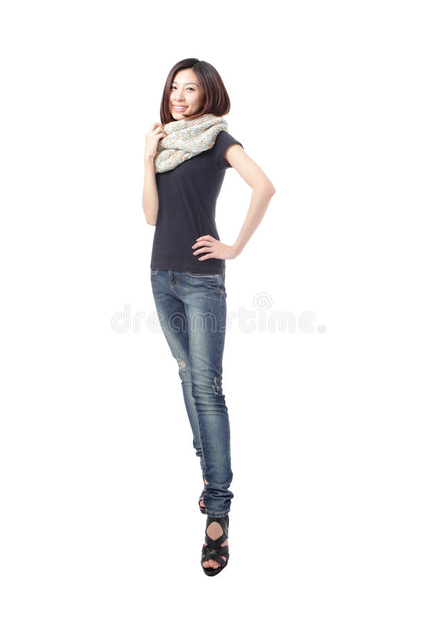Cool young girl with blue jeans royalty free stock images