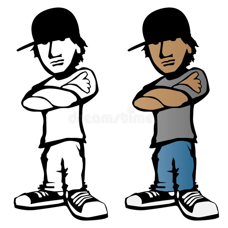 Cool young male cartoon character vector illustration royalty free illustration