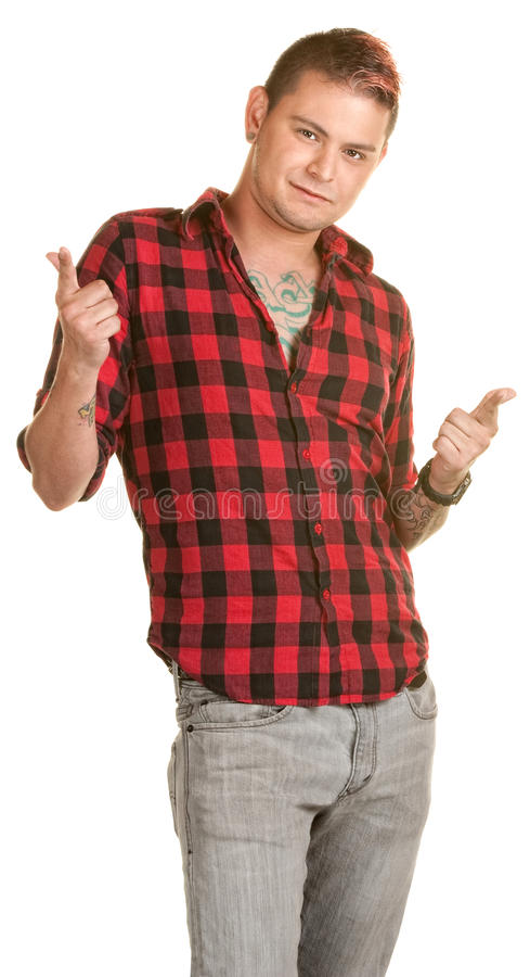 Download Cool Young Man Pointing stock photo. Image of hair, finger - 26033828