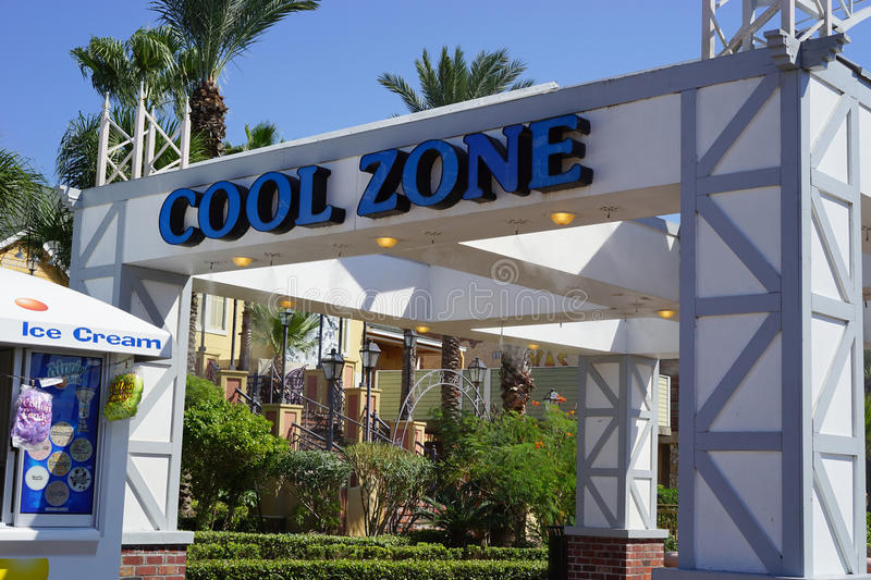 Cool Zone for hot Texas summers - closeup. Water misting areas are popular in the southern United States for tourists uncomfortable with local weather. This Cool stock images