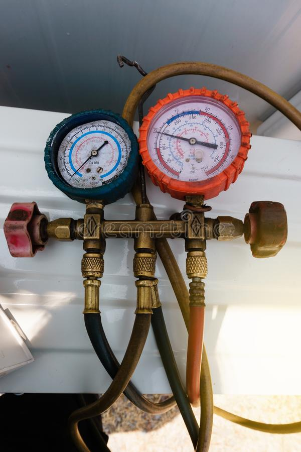 Coolant gauges, measuring equipment for investigate and refueling of air conditioners. Pressure Measurement – Manometers stock photo