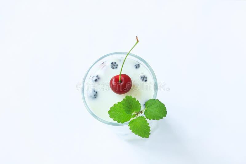 Cooled mjölkar jellofest i ett exponeringsglas med gröna mintkaramellsidor på en vit träbakgrund, kopieringsutrymme, bästa sikt fotografering för bildbyråer