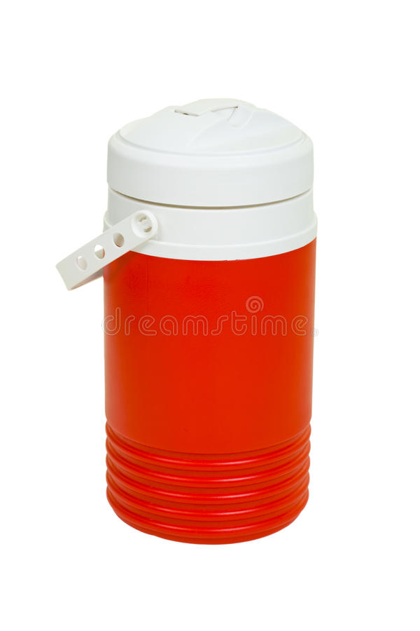 Cooler. Red plastic cooler; isolated, three clipping paths included royalty free stock images