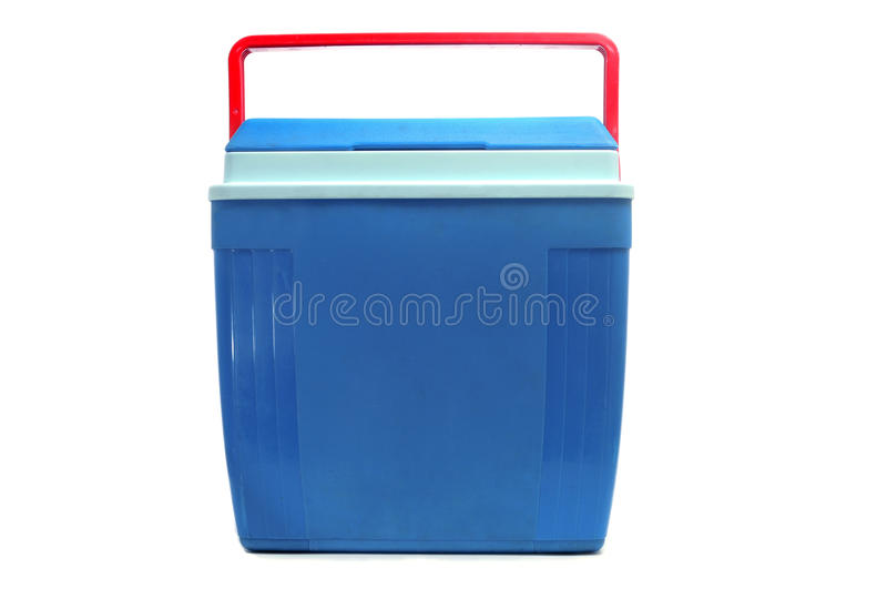 Cooler. A blue cooler with a red handle on a white background royalty free stock photos