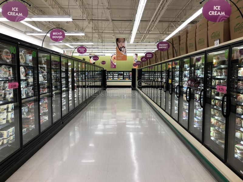 Cooler Aisle in a Grocery Store stock photo
