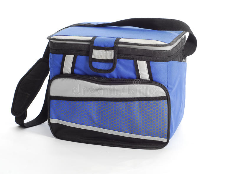 Cooler bag. Blue cooler bag with carrying strap isolated on white background royalty free stock image