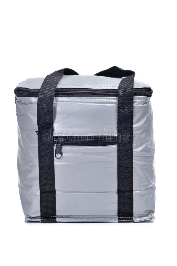 Cooler bag. A gray cooler bag on a white background royalty free stock photo