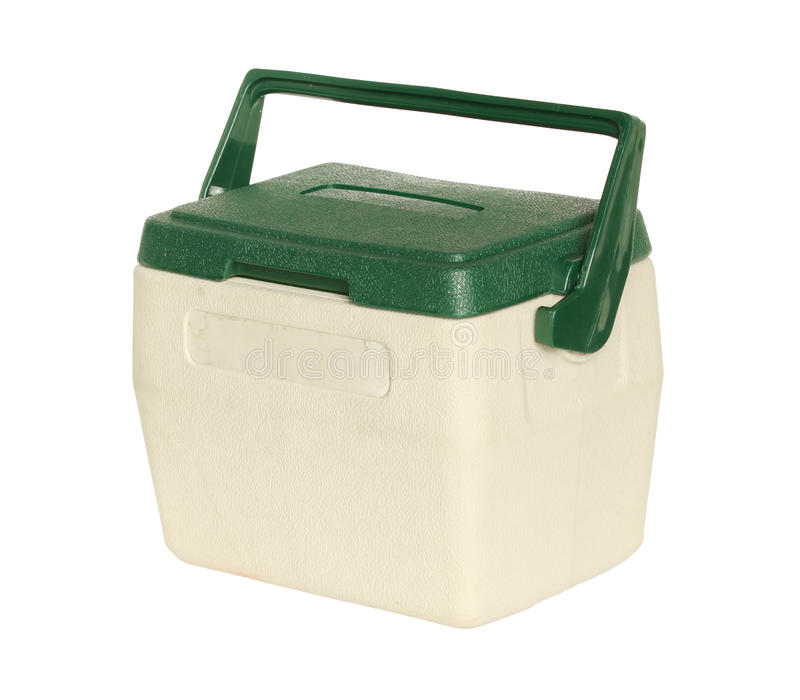 Cooler box. Plastic cooler box isolated on white background stock photography