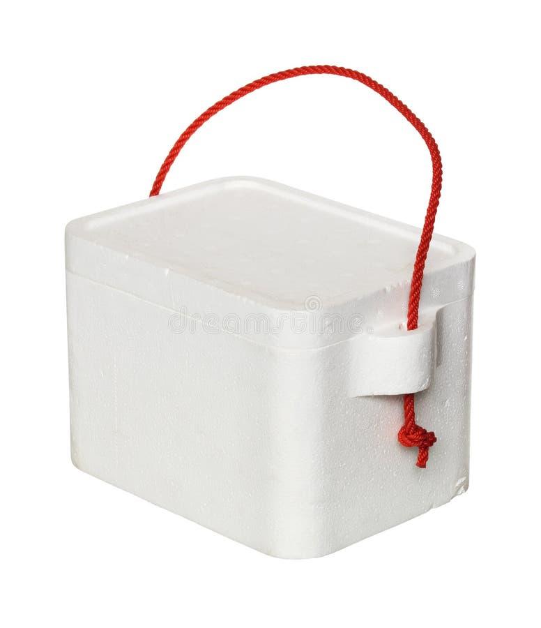 Cooler box. Styrofoam cooler box isolated on white background royalty free stock images