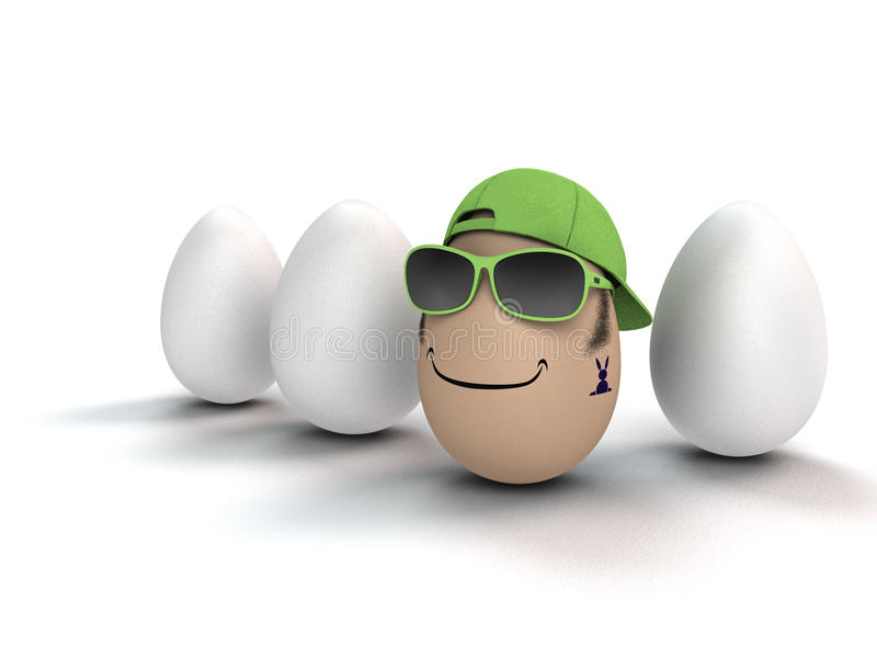 Coolest egg of all. Funny and cool easter egg with bunny tattoo royalty free illustration