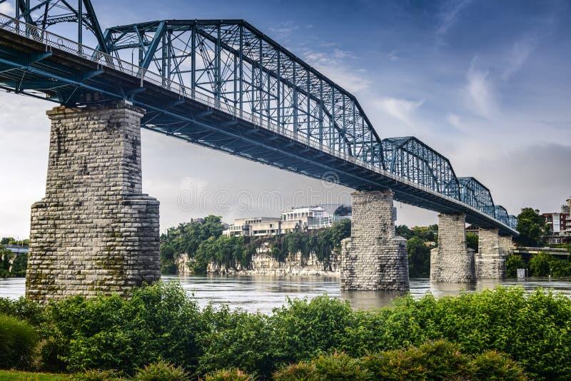 Coolidge Park and Walnut Street Bridge. Chattanooga, Tennessee, USA at Coolidge Park and Walnut Street Pedestrian Bridge royalty free stock photo
