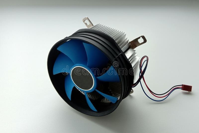 Cooling cooler for a personal computer on a white background.  stock photo