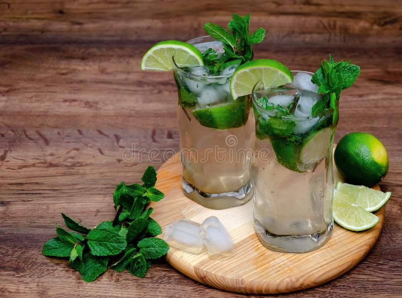 Cooling drink with mint and lime stock photography