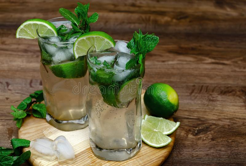 Cooling drink with mint and lime royalty free stock images