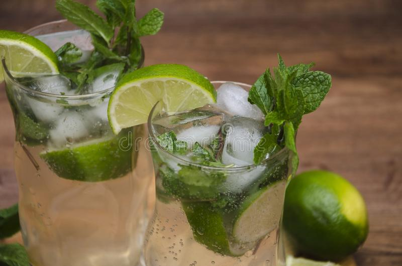 Cooling drink with mint stock image