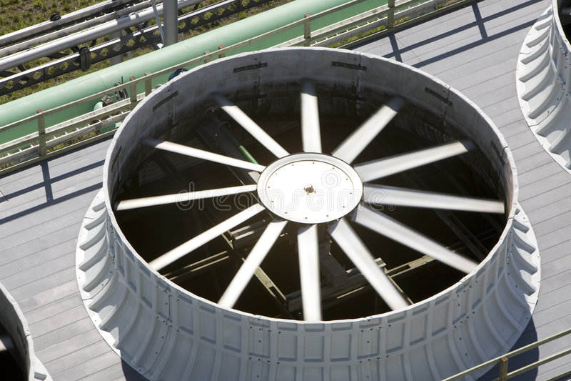 Cooling Fan. Cooling towers at an energy generating plant stock images