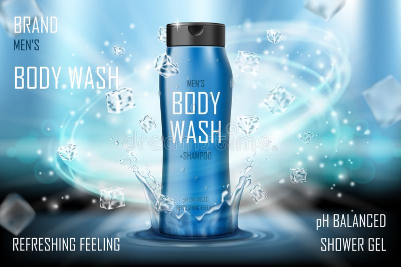 Cooling men s body wash gel with splashing water and ice cubes elements. Realistic body wash ad for poster. men s care. Product design. 3d vector illustration royalty free illustration