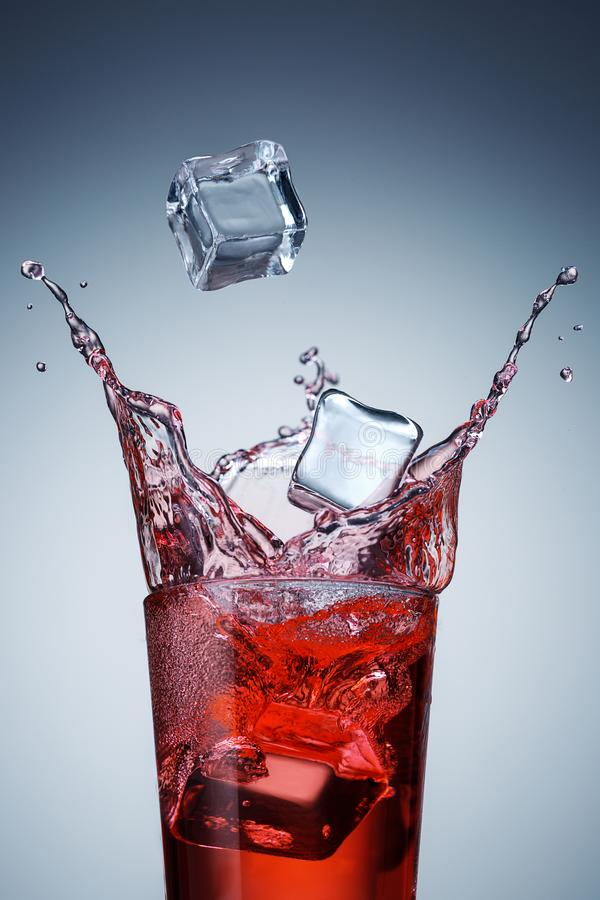Cooling sweet drink with ice stock photo