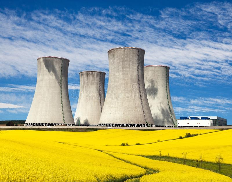 Cooling tower with golden flowering field of rapeseed. Nuclear power plant Dukovany, cooling tower with golden flowering field of rapeseed, canola or colza royalty free stock image