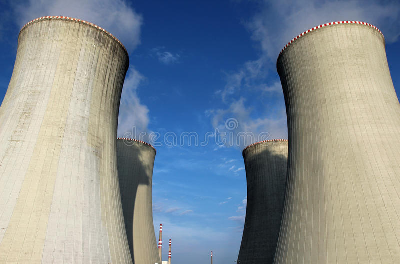 Cooling tower of nuclear power plant. Tower of nuclear power plant royalty free stock image