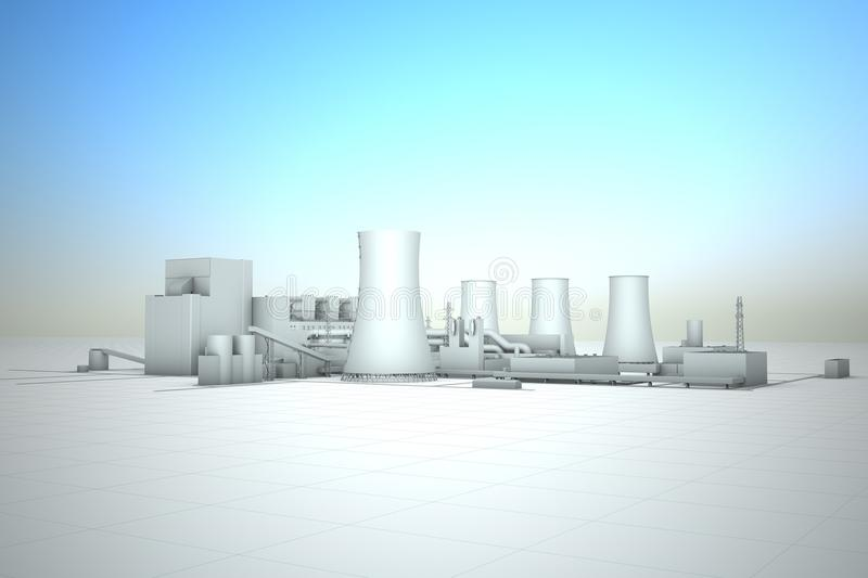 Cooling tower of nuclear power plant vector illustration