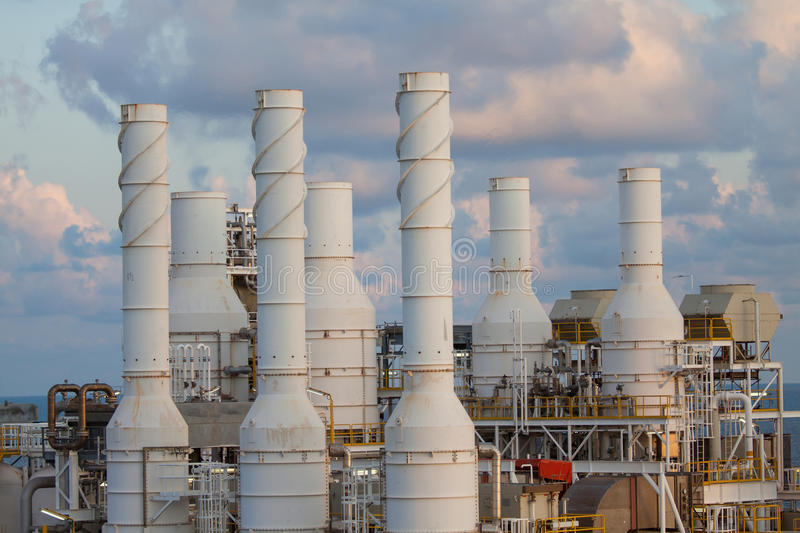 Cooling tower of oil and gas plant, hot gas from the process was cooling as the process, The line as same as the exhaust of. Turbine system, Do not touch the stock image