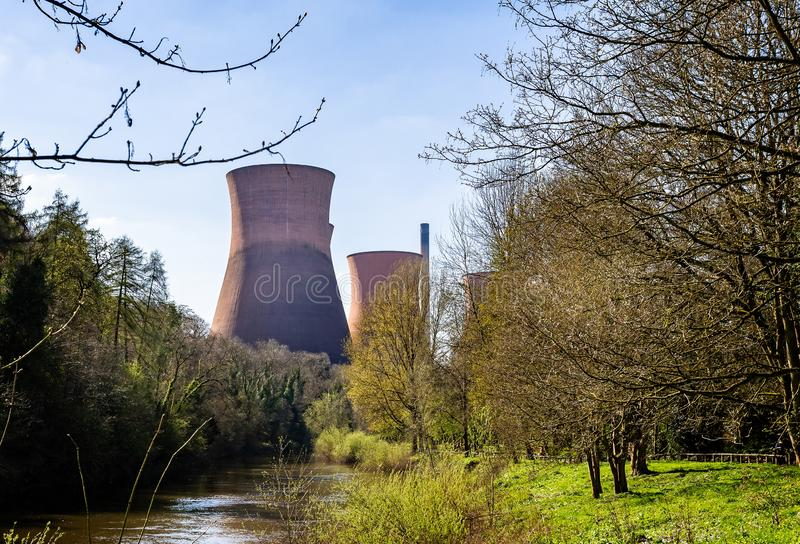 Cooling towers and chimney of the decommisioned power station in Ironbridge, Shropshire, UK. On 10 April 2019 royalty free stock image