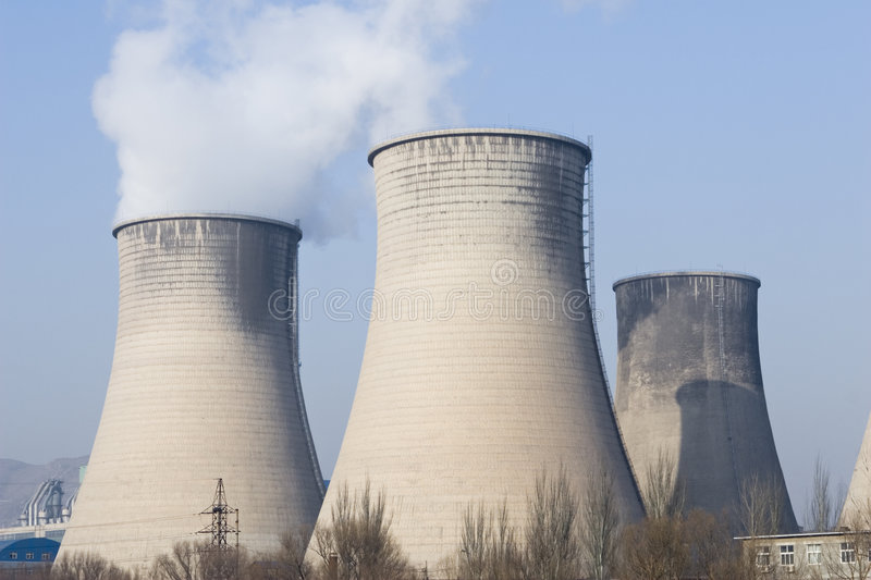 Cooling towers of a power plant stock photography